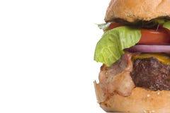 Cheeseburger della pancetta affumicata, spazio della copia lasciato immagine stock libera da diritti