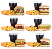 Cheeseburger della raccolta dell'hamburger e pasto stabiliti del menu delle patate fritte Fotografia Stock
