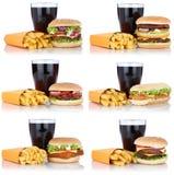 Cheeseburger determinado de la colección de la hamburguesa y comida del menú de las fritadas combinada Fotografía de archivo