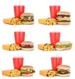 Cheeseburger determinado de la colección de la hamburguesa y comida del menú de las fritadas combinada Foto de archivo