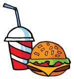 Cheeseburger die met Drank wordt gediend Stock Afbeeldingen