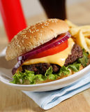Cheeseburger dinner Stock Images