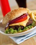 Cheeseburger dinner stock images