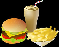 Cheeseburger, Drink, Fries, Food Royalty Free Stock Images