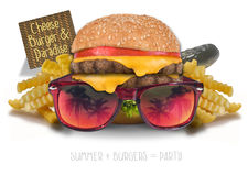 Cheeseburger en paraíso imagenes de archivo