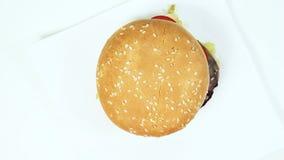 Cheeseburger en una placa almacen de metraje de vídeo