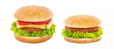 Cheeseburger et hamburger photo stock