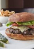 cheeseburger francuz smaży zalewy Obraz Stock
