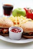 cheeseburger francuza dłoniaki fotografia royalty free