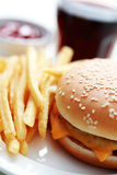 Cheeseburger and french fries Royalty Free Stock Image