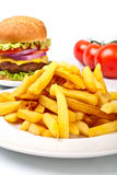Cheeseburger with french fries Stock Image