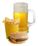 Cheeseburger French fries and beer Royalty Free Stock Photos