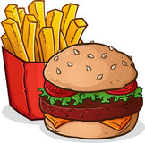 Cheeseburger French Fries Cartoon. A cartoon drawing of a delicious cheeseburger and large box of crispy, golden french fries Royalty Free Stock Photos