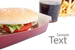 Cheeseburger, french fries and cola Royalty Free Stock Photo
