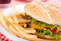 Cheeseburger and French Fries Royalty Free Stock Photo