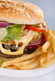 Cheeseburger with French Fries Royalty Free Stock Photography