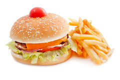 Cheeseburger with French fries. Iand cherry tomatoes solated on white background stock photos