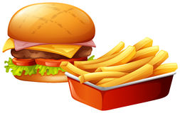 Cheeseburger and french fries. Illustration Stock Photo