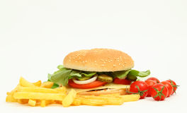 Cheeseburger with fries Royalty Free Stock Image