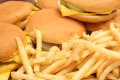 Cheeseburger & fries Royalty Free Stock Photos