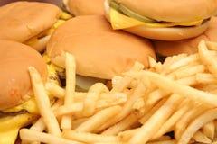 Cheeseburger & fries. Shot of cheeseburger & fries shot up close Royalty Free Stock Photos