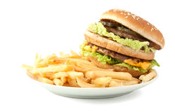 Cheeseburger with fries Royalty Free Stock Images