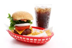 Cheeseburger and Fries. Meal of a cheesburger, fries, and a soda Royalty Free Stock Photo