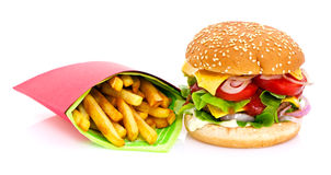 Cheeseburger and fries Royalty Free Stock Photography