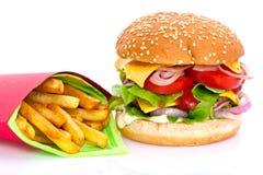 Cheeseburger and fries Royalty Free Stock Photos