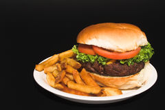Cheeseburger and Fries Stock Photography