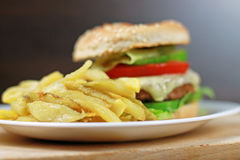 Cheeseburger and Fries Royalty Free Stock Image