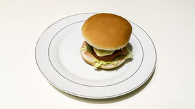 Cheeseburger and fries. Composition work in progres Stock Photography