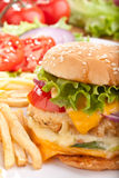 Cheeseburger with fries and ingredients Royalty Free Stock Photos