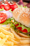 Cheeseburger with fries and ingredients Stock Photo