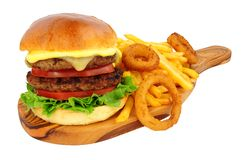 Cheeseburger And Fries With Onion Rings royalty free stock image