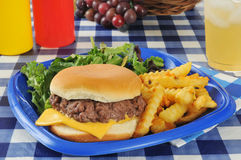 Cheeseburger with fries on a picnic table Royalty Free Stock Photo