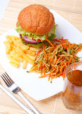 Cheeseburger, fries, vegetables Royalty Free Stock Photos