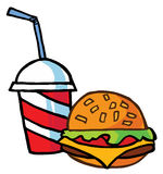 Cheeseburger gedient mit Getränk Stockbilder