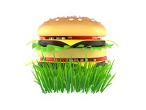 Cheeseburger on grass. Isolated on white background. 3d illustration vector illustration