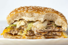 Cheeseburger half in plaat op witte achtergrond Stock Foto