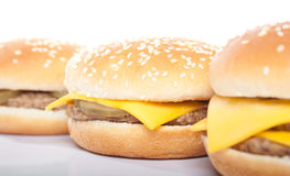 Cheeseburger and hamburger Royalty Free Stock Photos