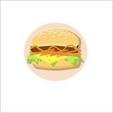 Cheeseburger. Hamburger with cheese over white background. Vector illustration Stock Images