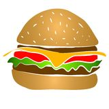 Cheeseburger Hamburger Clipart. Yummy! A big cheeseburger hamburger illustration with cheese, lettuce, tomato and mystery meat Royalty Free Stock Image