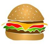 Cheeseburger Hamburger Clipart. Yummy! A big cheeseburger hamburger illustration with cheese, lettuce, tomato and mystery meat royalty free illustration