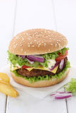 Cheeseburger hamburger copyspace copy space beef tomatoes lettuc Stock Photos