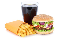 Cheeseburger hamburger and french fries menu meal combo cola drink fast food isolated royalty free stock photos