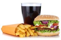 Cheeseburger hamburger and french fries menu meal combo cola dri Stock Images