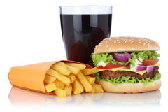 Cheeseburger hamburger and fries menu meal combo cola drink isol. Ated on a white background Stock Photo