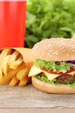 Cheeseburger hamburger and fries menu meal combo fast food drink Royalty Free Stock Images