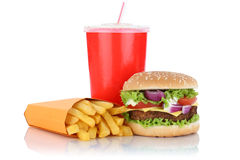 Cheeseburger hamburger and fries menu meal combo fast food drink. Isolated on a white background royalty free stock photo